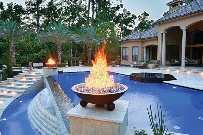 Custom Pool Concepts Texas infinity pool modern firebowl