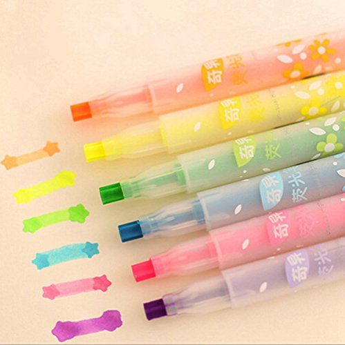 KitMax (TM) Pack of 12 Pcs Cute Cool Colorful Candy Color Star Shape Pen Tip Highlighter Pen Office School Supplies Students Children Gift (Color May Vary) KitMax