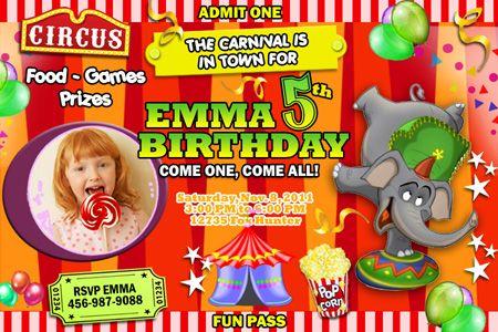 carnival colors  | Circus Carnival Clown Birthday Party Invitation Photo 1st C9 Popcorn ...