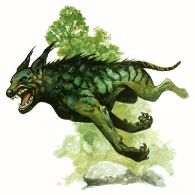Cu-sith- Scottish folklore: a green hound with shaggy hair and a braided tail. It would take souls to the after life, much like how the grim reaper does. Also it let out terrifying barks that you had to find shelter before the third bark or you would die of fear.