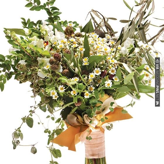 A rustic wedding Bouquet. Black radishes, chamomile, sweet peas, oregano, nasturtiums, laurel, and huckleberry, raspberry, and olive branches.   VIA #WEDDINGPINS.NET