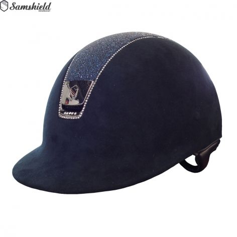 Samshield Navy Riding Hat with Navy Crystal Top, £946. The ultimate crystal…