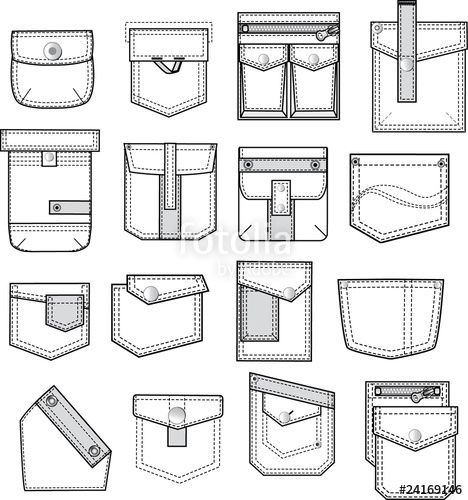 """Download the royalty-free vector """"pocket outlines for fashion design"""" designed by poulayot at the lowest price on Fotolia.com. Browse our cheap image bank online to find the perfect stock vector for your marketing projects!"""