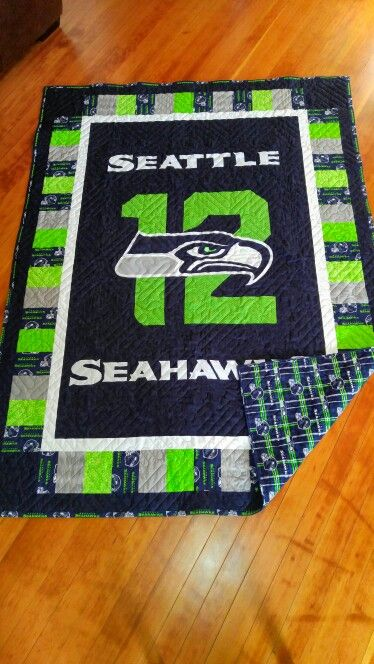 Seattle Seahawk quilt finished. DIY make your own patterns quilting.