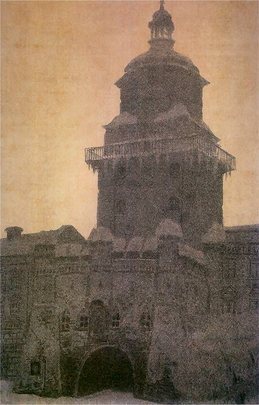 Leon Wyczółkowski: Brama Krakowska w Lublinie o zmierzchu pod śniegiem.  1918-19. Litografia barwna. 44,5 x 29,7 cm.  Muzeum Narodowe, Kraków.