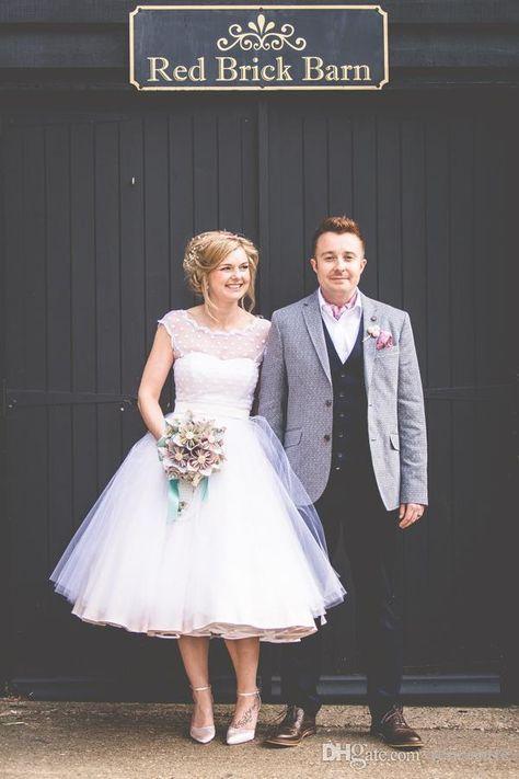 Vintage 1950's Style Polka Dotted Short Wedding Dresses Tea Length Little White Dresses 2016 Vestidos de Novia Beach Bridal Gowns  BRIDAL SHOWER DRESS ♡♡♡