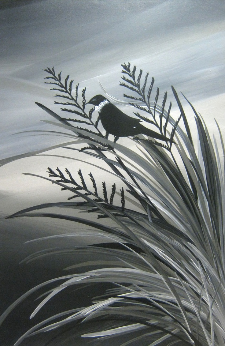 Tui's Song At Dusk: New Zealand Bird Paintings, Modern, Abstract and Contemporary Art, by Artist Megan Morris. www.paintingsforsaledirect.com