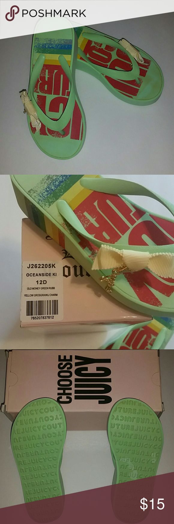 NIB Juicy Couture FlipFlops Kids size 12D Brand new in box Juicy Couture flip flops for kids size 12D. Oceanside Kids Old Money green rubber yellow grosgrain with gold Juicy charms.  Style # J262205K There is slight discoloration on the toe of the left flip flop. I'm not sure what it is from but these are brand new and never worn. Super cute!! Juicy Couture Shoes Sandals & Flip Flops