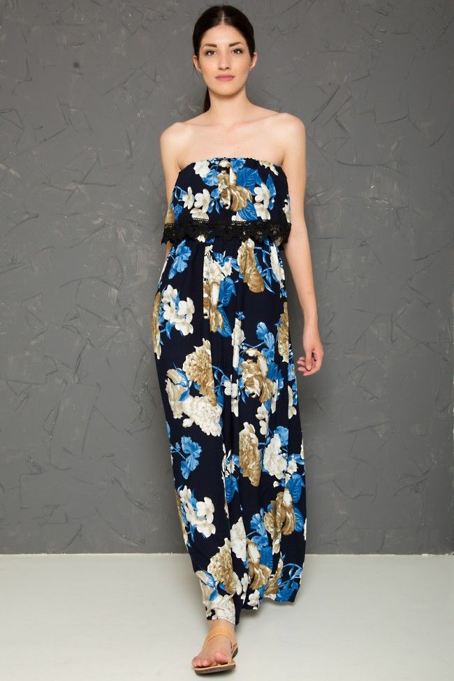 Deep Bardot Maxi Dress in Floral Print with Lace Details