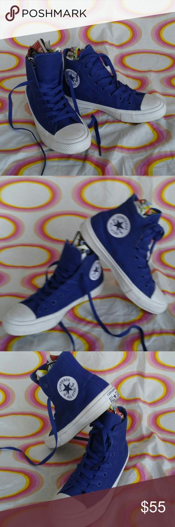 BLUE CONVERSE HIGH TOP CHUCK TAYLOR ALL STAR II These are like new-worn twice & not for long-stickers are still on the inside-these are the redesigned  All Star II's Womans size 8 The color of the blue is amazing. Converse Shoes