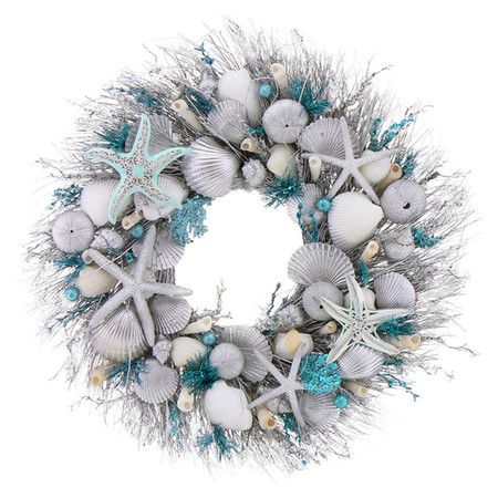 Silvered starfish and seashell wreath in a twig base.   Product: WreathConstruction Material: Silicone, sea shel...
