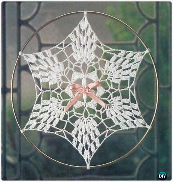Crochet Pineapple Snowflake Suncatcher Free Patterns - Crochet Dream Catcher Free Patterns