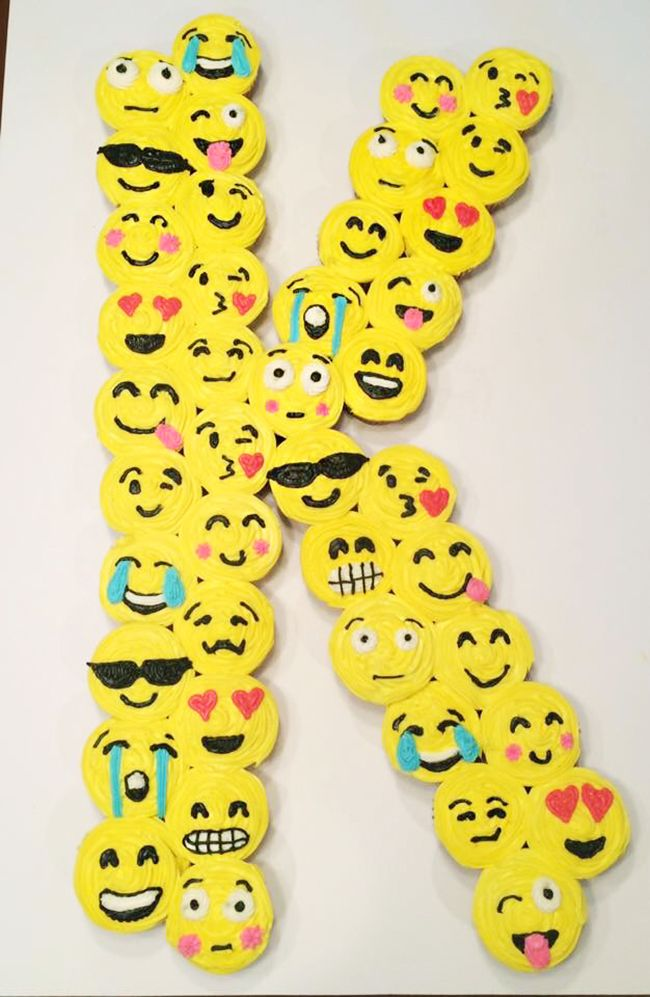 Emoji Initial Cupcakes. Emoji cake ideas and dessert inspiration for an Emoji Party. From birthday and graduation parties to school events, an emoji party theme is fun for all! LivingLocurto.com
