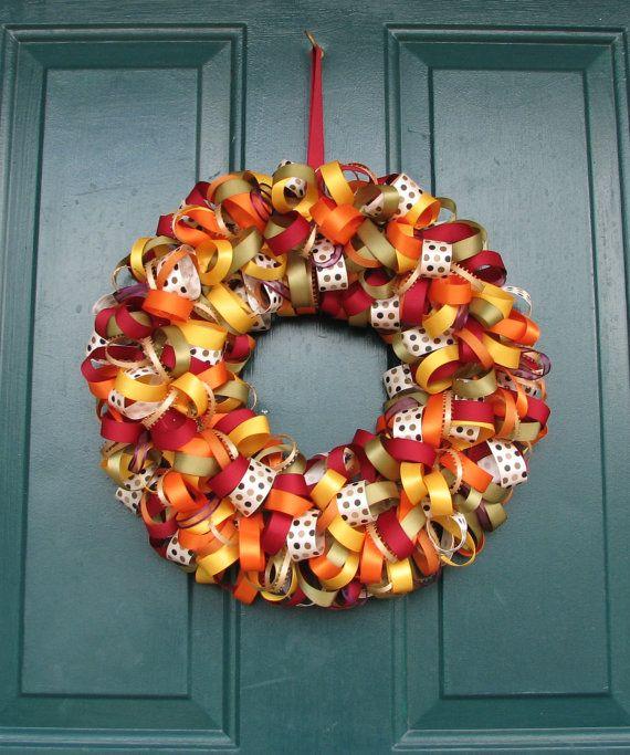 Fall Ribbon Wreath 15 fall colors by jasmineblossomcrafts