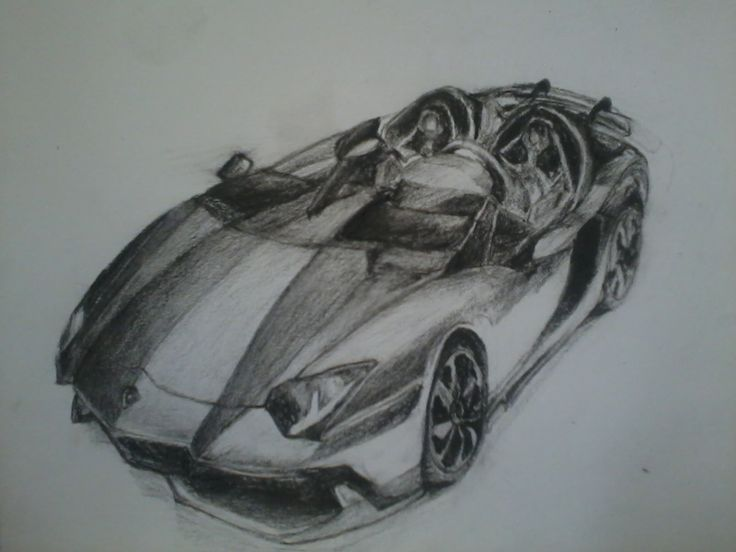 Charcoal pencil Sketch- July 2012- A4 Size - shading, smudging. - Aventador-Laborghini
