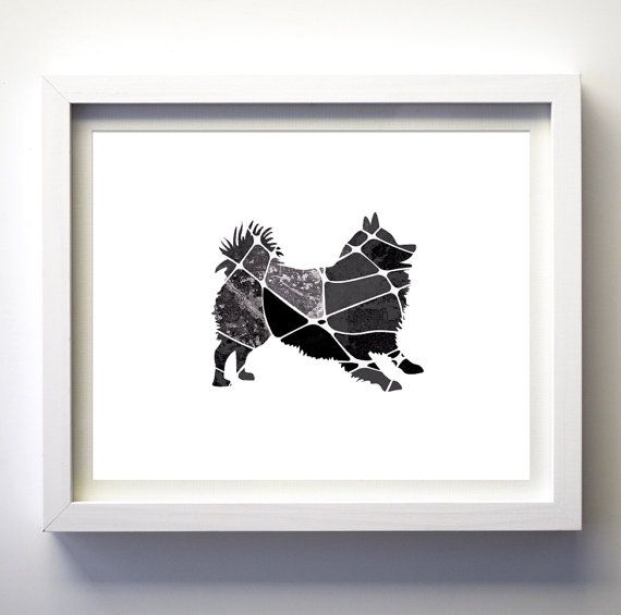 Pomeranian dog silhouette minimalist art by FancyPrintsforHome