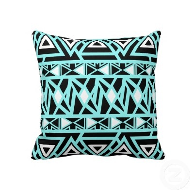 Bold Tribal Turquoise Throw Pillow by OrganicSaturation