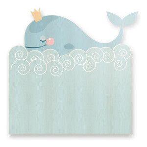 Testiera Whale in legno di pino  blu chiaro e bianco  115 x 5 x 105 cm