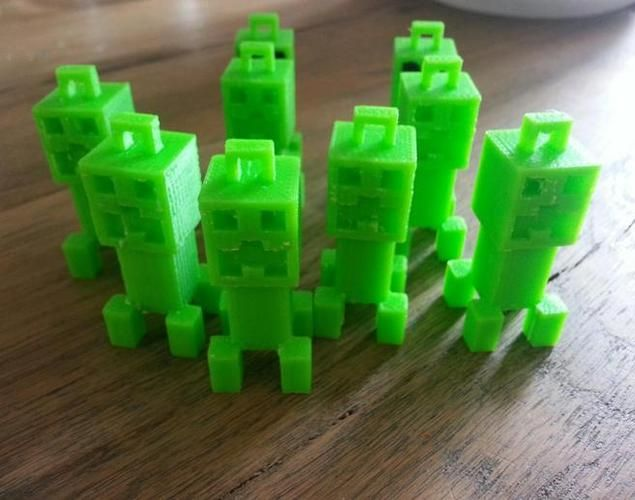 3D Printed Minecraft Creepers.