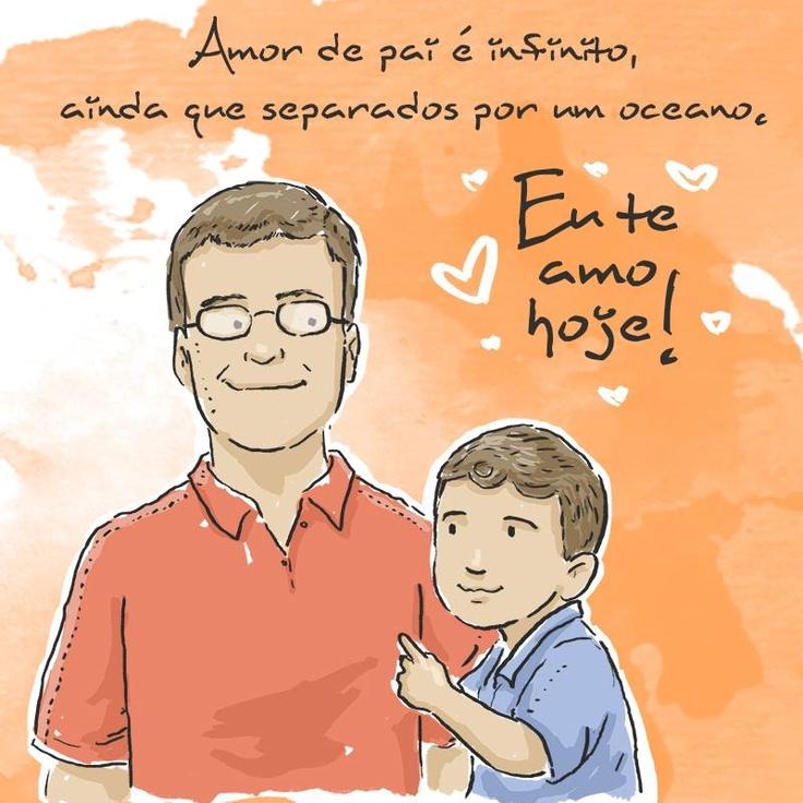 Amor de pai é infinito, ainda que separados por um oceano. #euteamohoje #pais #amorinfinito