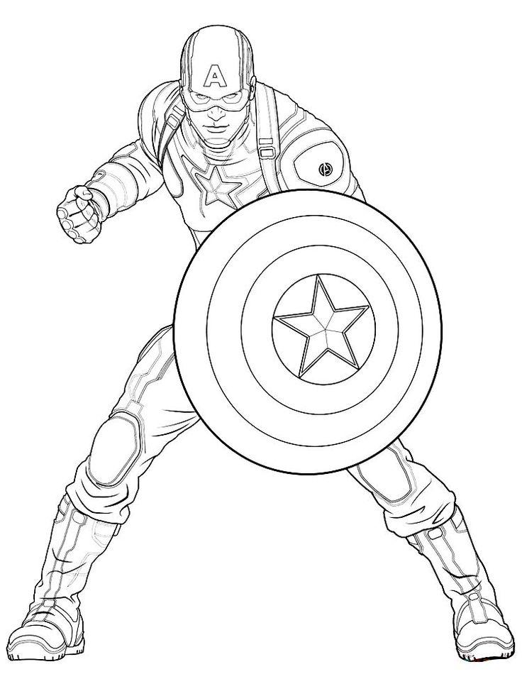 Captain America Coloring Page Printable | Buku mewarnai ...