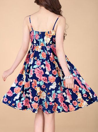 Bohemian Women Strap Flower Pattern Printing Beach A-line Dress at Banggood