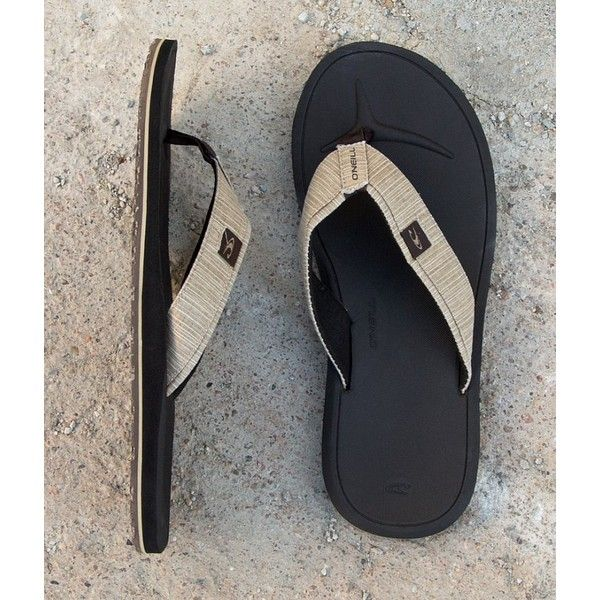 O'Neill Nacho Libre Flip ($30) ❤ liked on Polyvore featuring men's fashion, men's shoes, men's sandals, men's flip flops, khaki, mens flip flop sandals, mens sandals, mens monk strap shoes, mens shoes and mens strap sandals