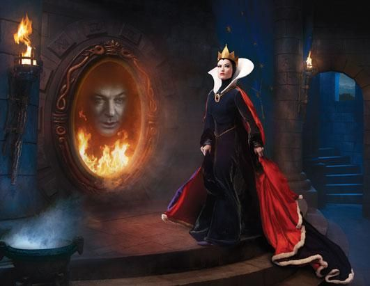 """Alec Baldwin became the Spirit of the Magic Mirror, while Olivia Wilde looks on as the Evil Queen from """"Snow White and the Seven Dwarfs."""" (Annie Leibovitz)"""