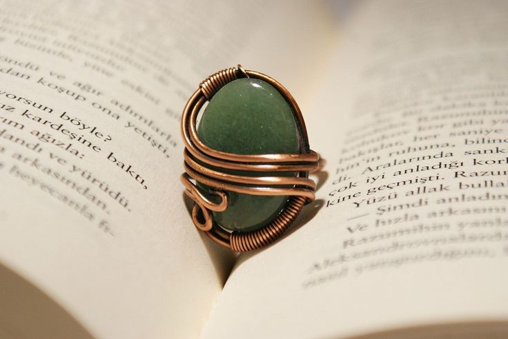 A personal favorite from my Etsy shop https://www.etsy.com/listing/122632928/aventurine-ring-copper-ring-wire-wrapped
