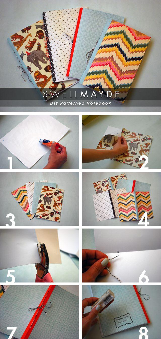 DIY: patterned notebook; I'd make about a million!!