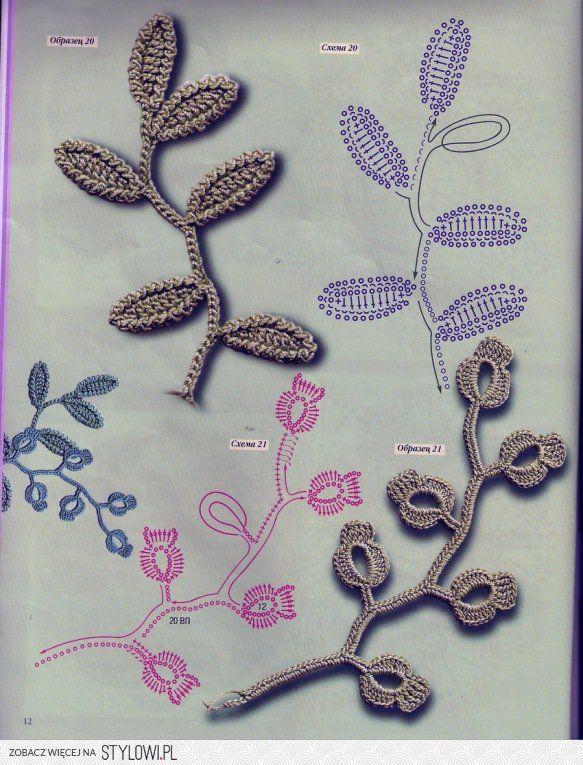 Irish Crochet Leaf Sprig