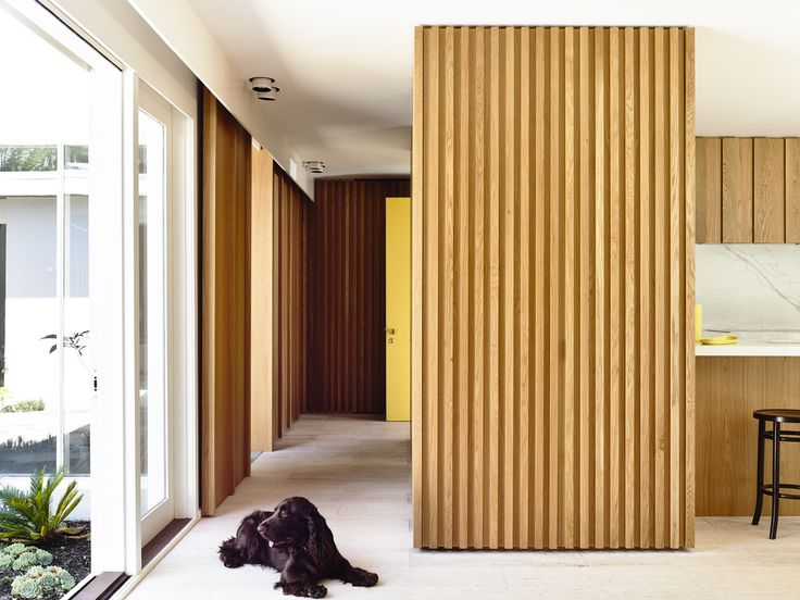 Entry; Tas Oak Batten wall -Timber infill panels around new entry door