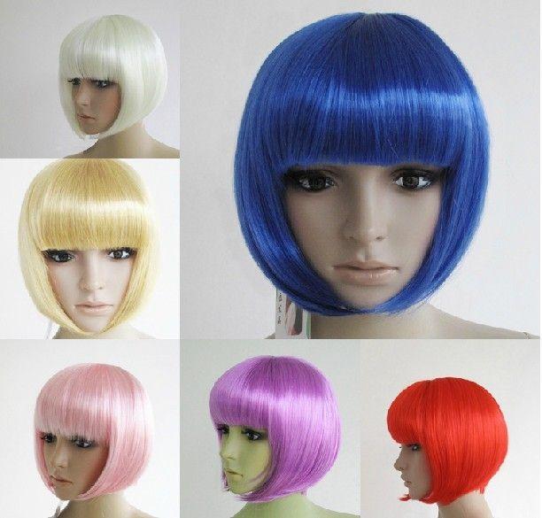 Мода 13 цвета дешевые фестиваль ну вечеринку карнавал парики синтетические волосы хэллоуин косплей cm a0028 короткие волос купить на AliExpress