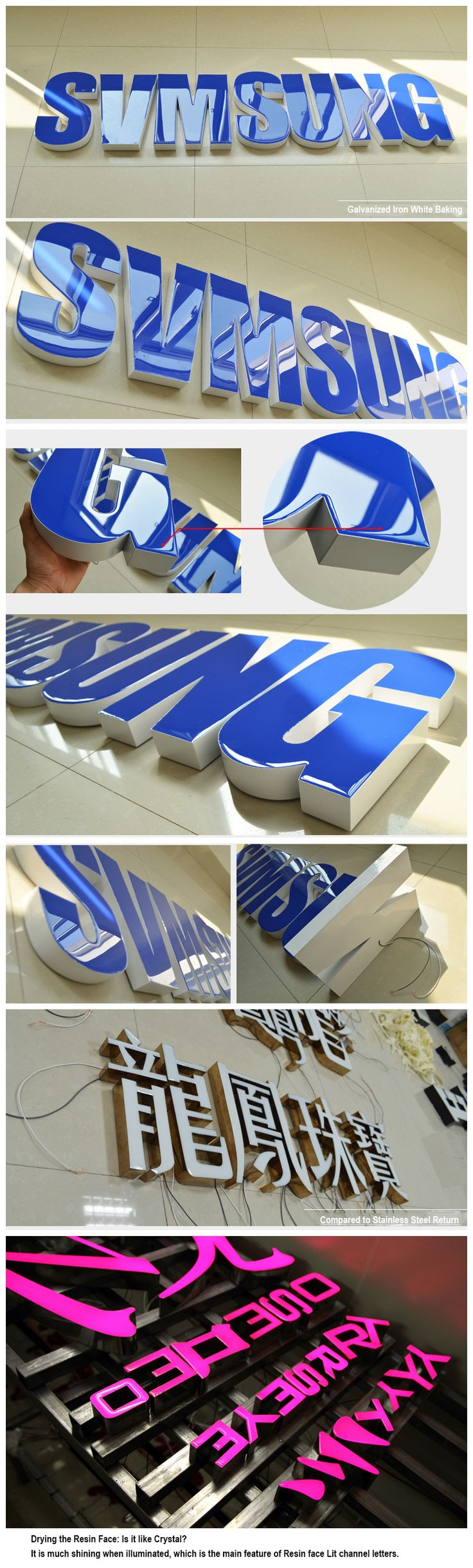 Blue Rimless illuminated Channel Letters Signage