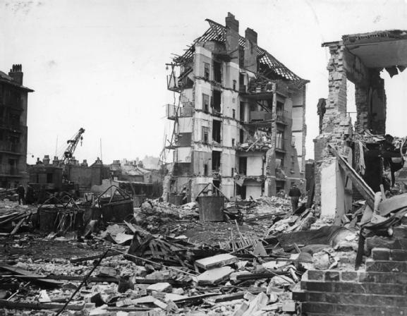Ruined flats in Limehouse, East London, following the explosion of the last German V2 rocket to fall on Britain, 27 March 1945.