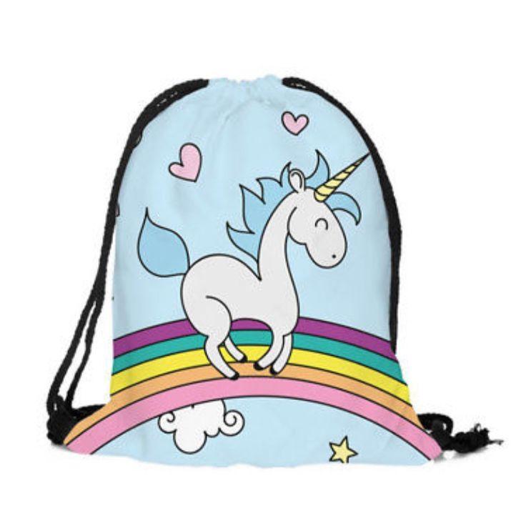 Drawstring Bag: Unicorn - Blue