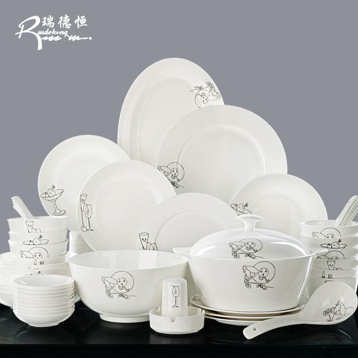 korean Tangshan 28 head bone china tableware set marriage Chinese dishes dinnerware set household ceramics special guci gift #Affiliate