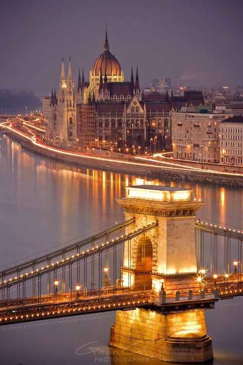 View of the Szechenyi Chain Bridge and Parliament building on the river Danube in Budapest, Hungary
