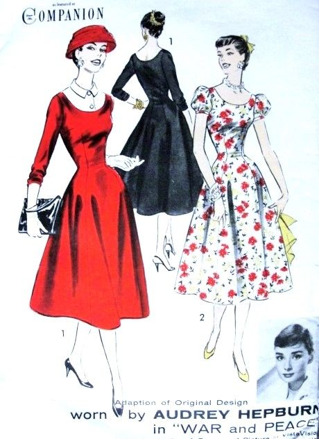 1950s RARE Audrey Hepburn Pattern Advance 8125 Adaption of original Design Worn By Audrey Hepburn In War and Peace Movie Empire Dress  Princess Line Skirt, Dickey Bust 36 Vintage Sewing Pattern