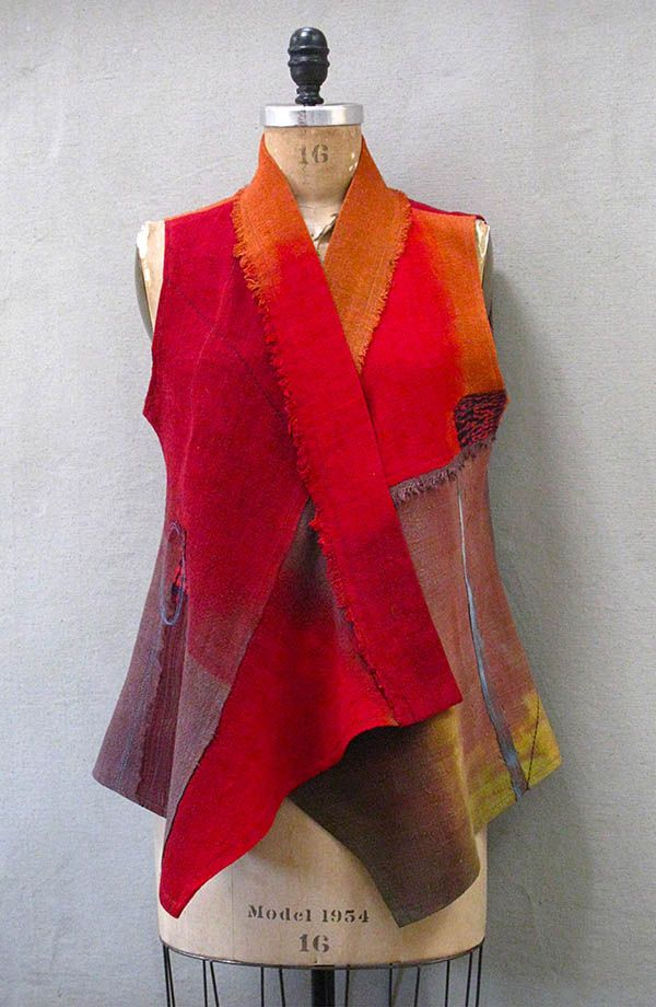 EF Vest Tibetan red in mixed silk | Holly Badgley Design
