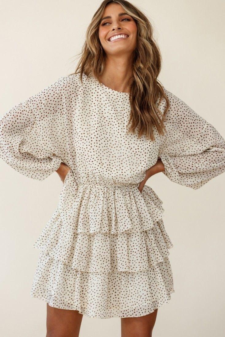 White Dotted Ruffle Dress Layered Ruffle Dress Long Sleeve Dress Ruffle Dress [ 1099 x 733 Pixel ]