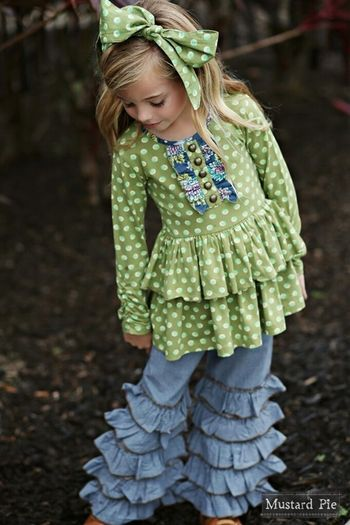 Mustard Pie Frilly Ruffle Pants Emerald Dance PREORDER