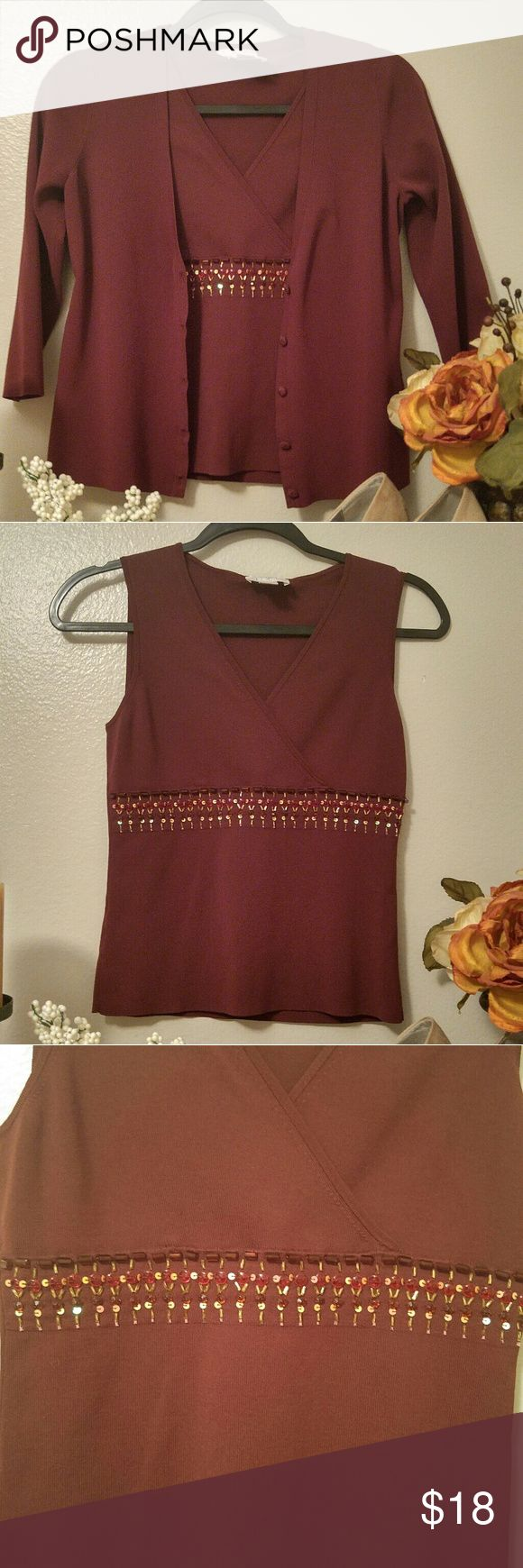 Anne Taylor Loft Burgundy Beaded Sweater Set Very pretty Anne Taylor Loft burgundy sweater set.  Sleeveless crossover v-neck sweater with beaded accents at bustline, size is MP. Matching 3/4 sleeve over sweater, size is M. Excellent condition, only worn a few times. Ann Taylor Tops
