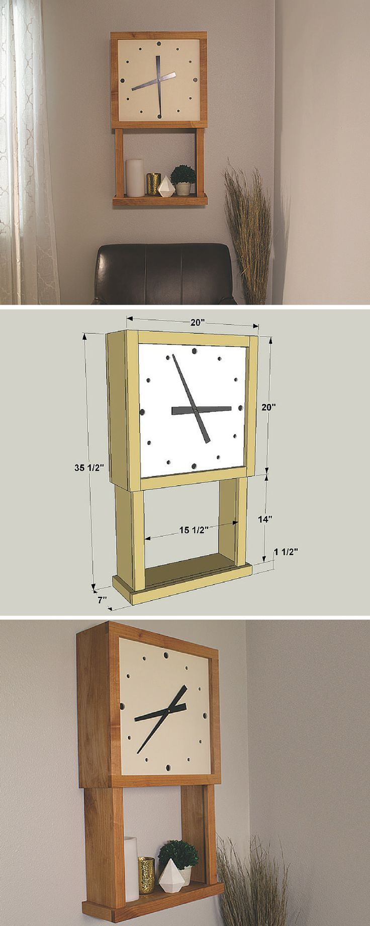 DIY Wall Display Clock | Free printable plans include how-to steps, tools and materials list, cutting list and diagram.