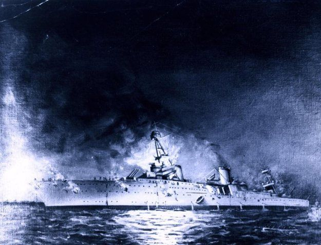 Sinking of USS Houston (CA-30) in the Battle of Sunda Strait, 1 March 1942. Painting by Joseph Fleischman, 1950. Naval History and Heritage Command Photo