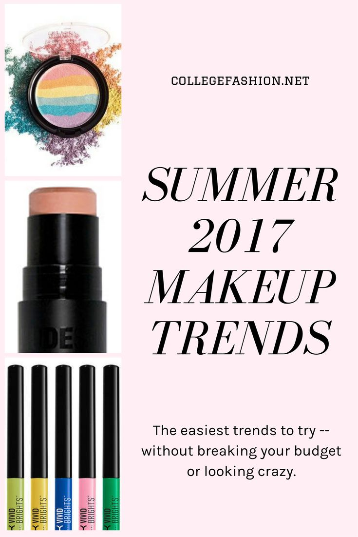 Summer 2017 Makeup Trends: The easiest inexpensive makeup trends to try this summer, including rainbow highlighter, monochromatic makeup, and colorful eyeliner
