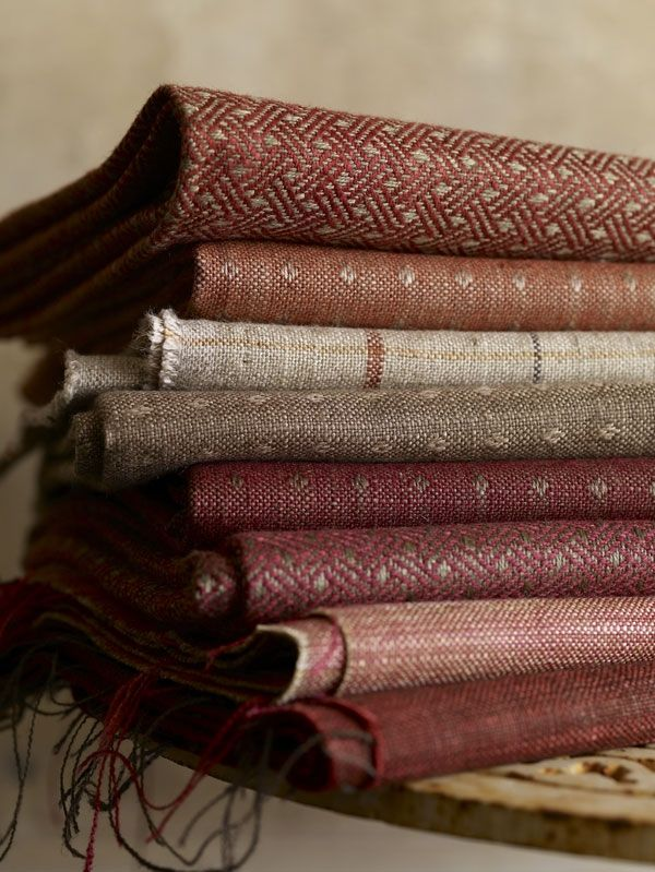 Linwood - Isseo. Checks, plains and dobby weaves all woven with linen and viscose for drapes and upholstery. From Designers International in Designmade Christchurch.