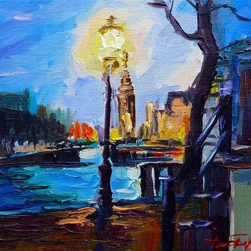 """Daily Paintworks - """"Straßenlaterne von Amsterdam"""" by Jurij Frey"""