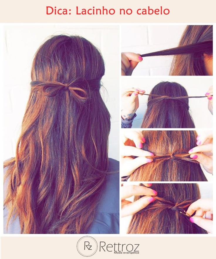 Bom dia mulheres abençoadas! Para começar bem o dia, uma dica simples e charmosa para seus cabelos. Olha só o passo a passo para fazer um penteado de lacinho com suas próprias madeixas.