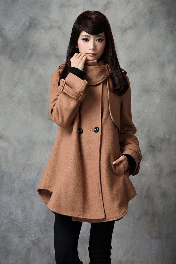 Tan pea coat women